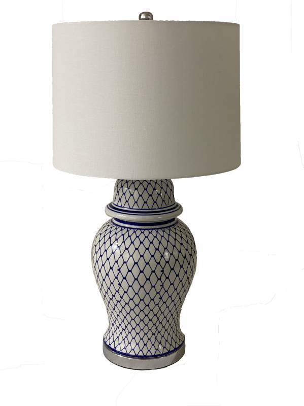 White Shade Table Lamp With Porcelain White Blue Base