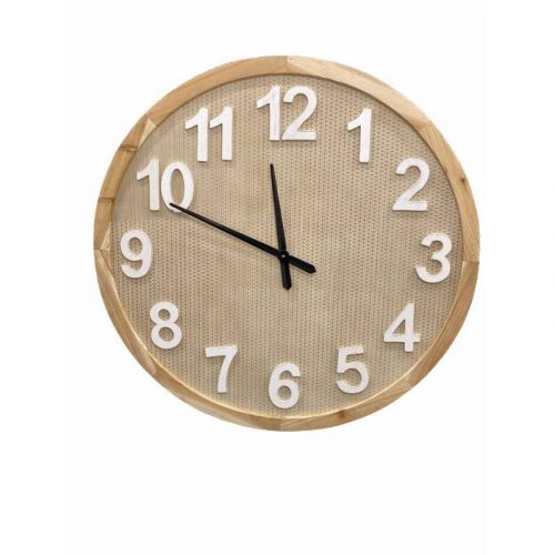 X Large Wooden Wall Clock With White Numbers