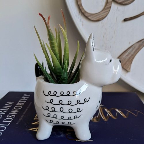 Black White French Bulldog Ceramic Pot Planter