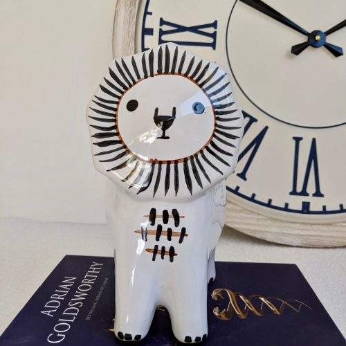 Black White Lion Ceramic Pot Planter