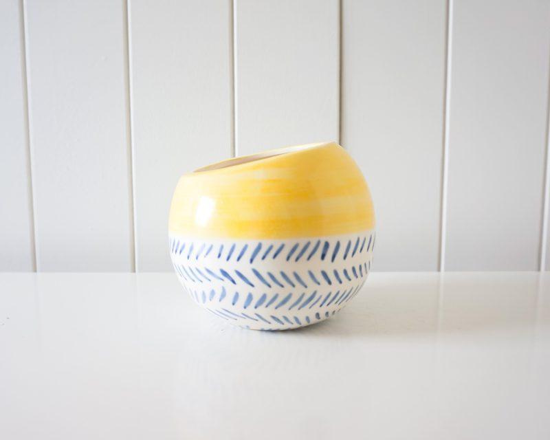 Boho Round Yellow Blue Ceramic Pot Planter
