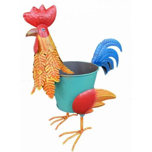 Bright Chicken Rooster Metal Pot Planters - Set of 2