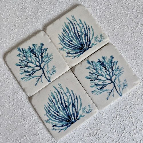 Coastal Blue Coral Coasters Set