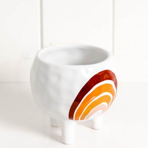 Coastal White Rainbow Ceramic Pot Planter On Legs