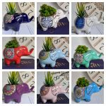 Colourful Ceramic Elephant Pot Planters 17x10cm