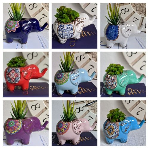 Colourful Ceramic Elephant Pot Planters 17x10cm