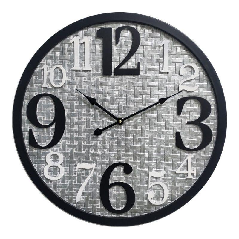Distressed Grey Black Scandi Metal Wall Clock