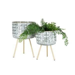 Distressed White 3 Leg Metal Pot Planters - Set of 2