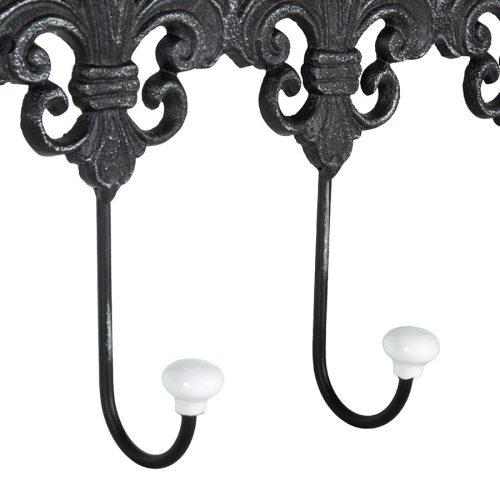 French Fleur-de-Lis Iron Hook Key Holder Rack