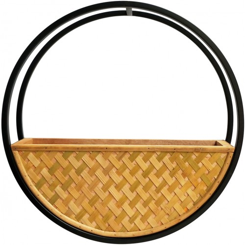 Hamptons Natural Round Cane Wall Pot Planter