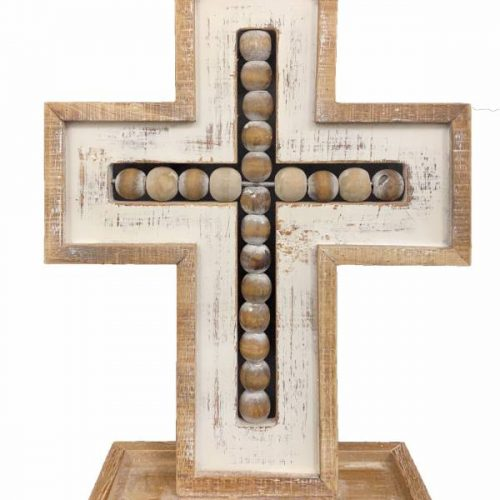 Hamptons Natural White Beaded Cross Ornament