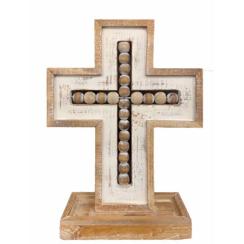 Hamptons Natural White Beaded Cross Ornament