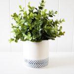 Hamptons White Navy Chevron Ceramic Pot Planter