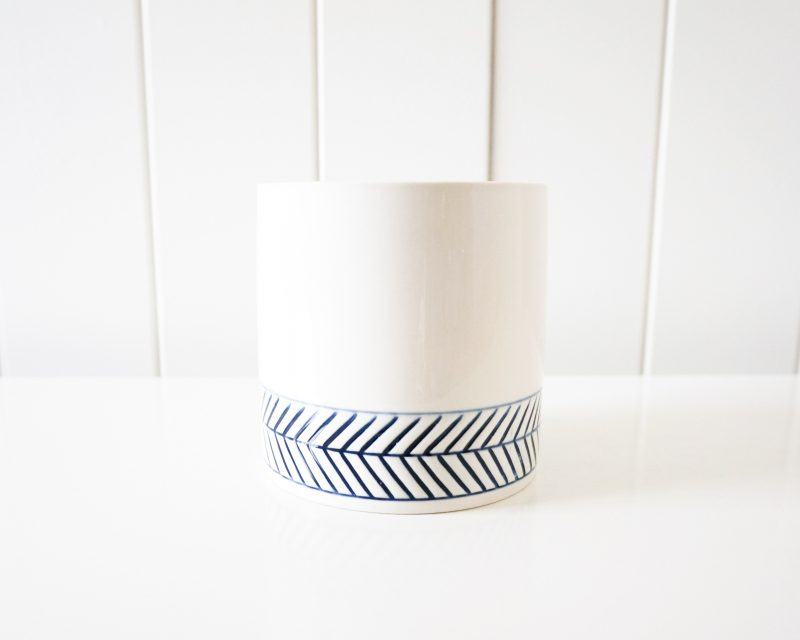 Hamptons White Navy Chevron Ceramic Pot Planter