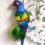 Large Multicoloured Parrot Bird Metal Wall Art