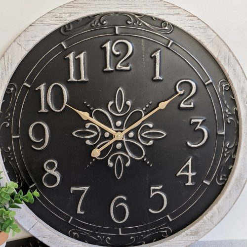 New Large Black White French Scroll Wall Clock