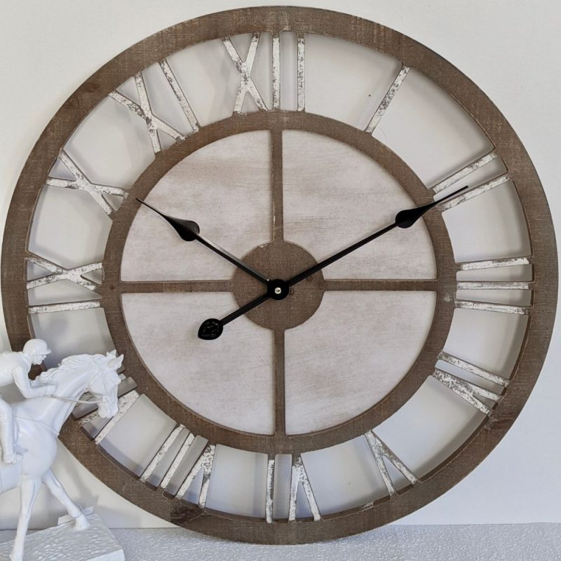 New Large Scandi Hamptons Natural White Wooden Wall Clock