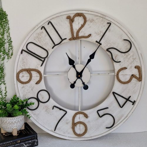 New XL Extra Large Coastal White Wall Clock