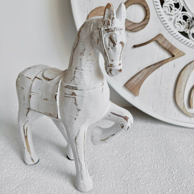 Rustic Whitewash Wood Carved Horse Statue