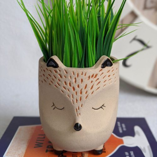 Sand Textured Ceramic Fox Pot Planter