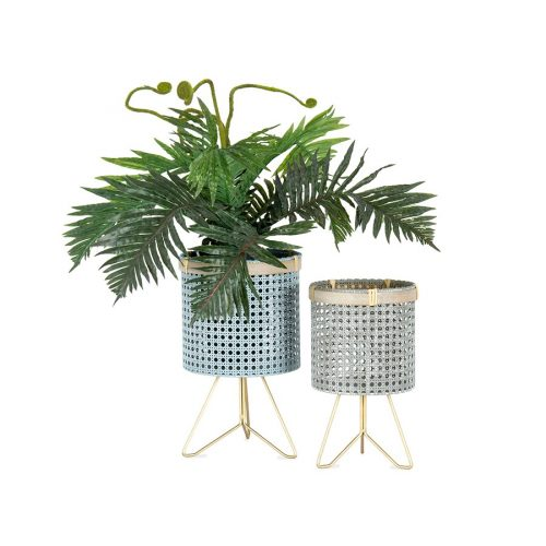 Set of 2 Grey Taupe Footed Metal Pot Planters