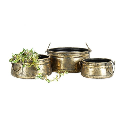 Set of 3 Antique Gold Vintage Metal Pot Planter with Handles
