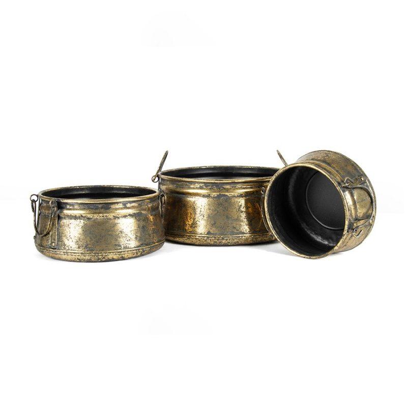 Set of 3 Antique Gold Vintage Metal Pot Planter with Handles