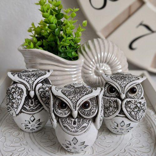 Set of 3 Black White Coastal No See Speak Hear Owls Figurine