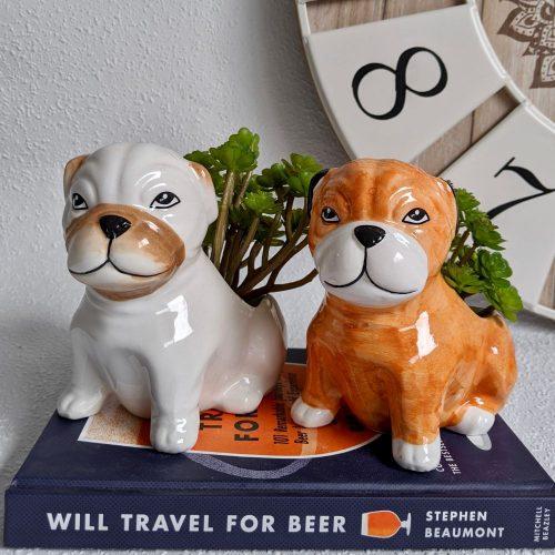 Sitting Bulldog Ceramic Pot Planter