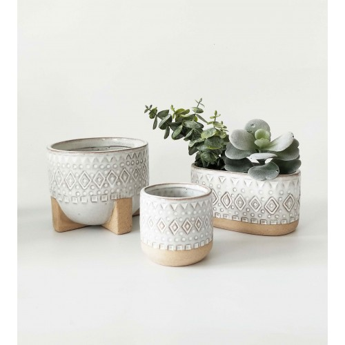 Tribal White Ceramic Pot Planter With Sandy Legs