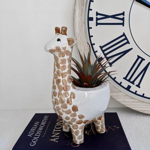 White Brown Giraffe Ceramic Pot Planter