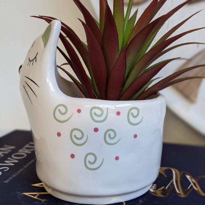 White Ceramic Sleepy Cat Pot Planter