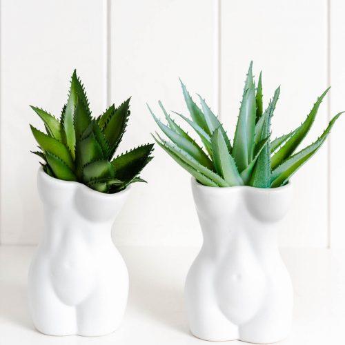 White Lady Shape Figure Ceramic Vase Planter