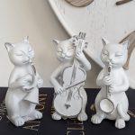 White Musical Cat Sttaue