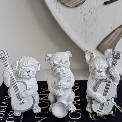White Musical French Bulldog Statue - Set of 3