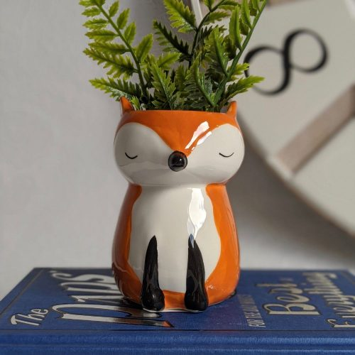 White Orange Ceramic Fox Pot Planter