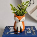 White Orange Ceramic Fox Pot Planter