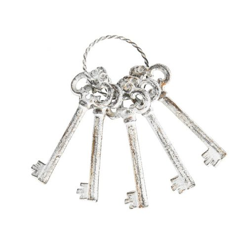 Antique White Metal Decorative Keys Set