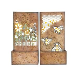 Bee and Flower Rustic Metal Wall Pot Planters - Set of 2
