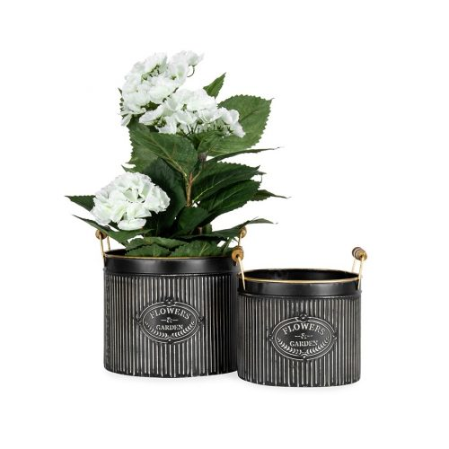 Black Gold French Metal Basket Pot Planters - Set of 2