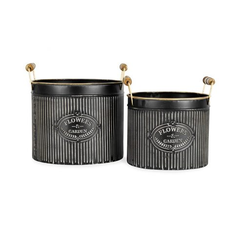 Black Gold French Metal Basket Pot Planters - Set of 2