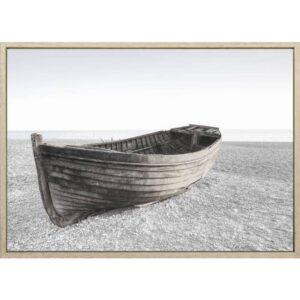 Boat on Sandy Beach Framed Canvas Print Wall Art