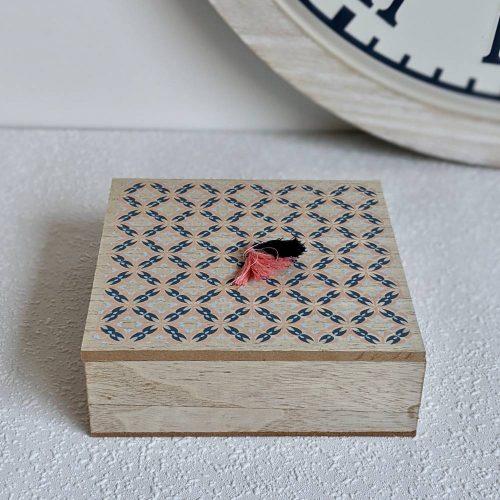Boho Wooden Trinket Box With Tassels