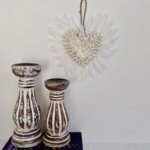 Hamptons Whitewash Pillar Candle Holder