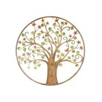 Colourful Birds on Tree Round Rustic Metal Wall Art