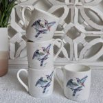 Flying Birds White Bone China Espresso Cups – Set of 4