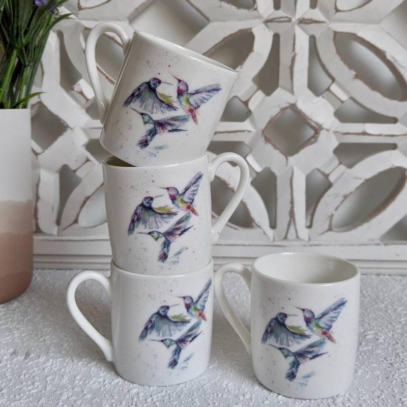 Flying Birds White Bone China Espresso Cups – Set of 4