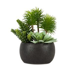 Large Artificial Succulents in Black Cement Pot