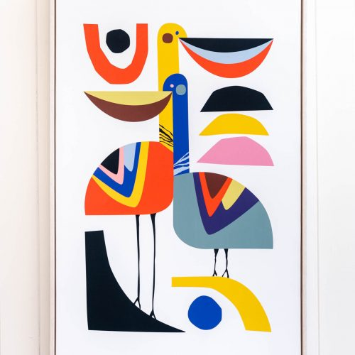Pelican Bird Modern Framed Canvas Print Wall Art