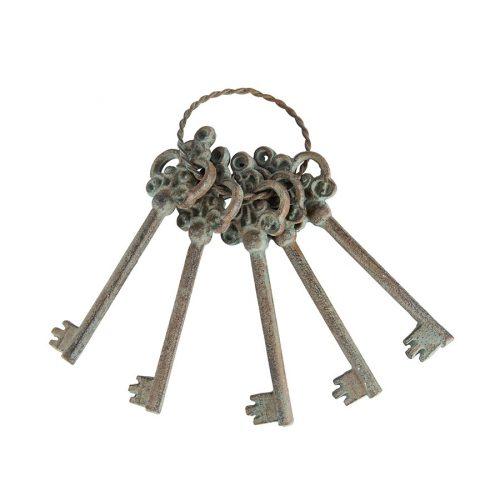 Rustic Antique Green Metal Decorative Keys Set